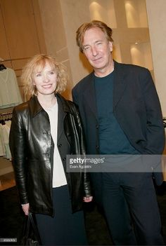 "Alan Rickman and co-star Lindsay Duncan nominated for Outstanding Actor in a Play and Outstanding Actress in a Play for ""Private Lives"" at the 47th Annual Drama Desk nomination cocktail reception held at the St. John Boutique in New York City. May 2, 2002"