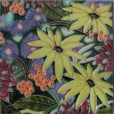 Decorative Wall Tiles, Ceramic Wall Art, Ceramic Decor, Tile Art, Marigold, Floral Flowers, Ceramics, Amazon, Plants
