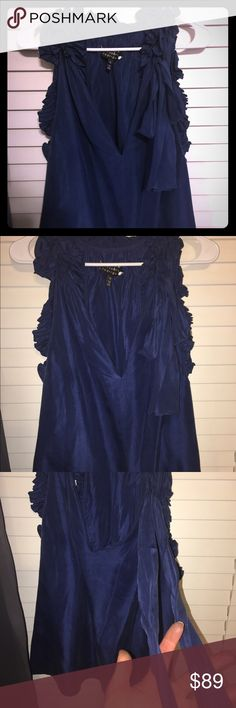 Robert Rodriguez sleeveless Blouse Perfecr for spring & summer. Lightweight. Flowy. Wide open sides. Can tie bow or let hang. Worn a couple times. Perfect condition. Looks dark navy inside when sun hits it gas electric blue sheen! Gorgeous Robert Rodriguez Tops Blouses