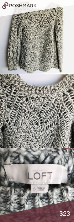 "Ann Taylor Loft Grey and White Open Weave Sweater Ann Taylor Loft chunky open weave scoop neck sweater with scalloped hem. Front has a chevron weave while back has a linear pattern. EUC Approx. measurements:  Pit to pit: 17"" Length: 24""  Smoke/pet free home Fast ship! LOFT Sweaters Crew & Scoop Necks"