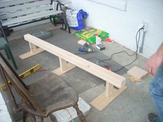 Easy DIY balance beam with some height for about $10. (2) 2x4's cut 6 ft (buy 8ft pieces) the additional 2 2ft (3) or (6)for additional sturdiness 8 inch pieces. Plywood cut 2ft wide and 6inches across. 21/2 and 3 inch wood screws. Sand edges smooth. Attach legs to one 2x4 with 3inch screws and then attach 2x4's to each other with 21/2 screws. Attach base and done.