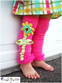 Hot Pink Interchangeable flower legwarmers by Snuggle Bug Kidz    NOTE: Patent Pending design
