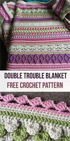 Crochet afghans 342484746660158202 - Double Trouble Blanket [Free Crochet Pattern] Source by janjbg Crochet Afgans, Knit Or Crochet, Crochet Crafts, Crochet Projects, Free Crochet, Crotchet, Double Crochet, Crochet Throws, Crocheted Blankets