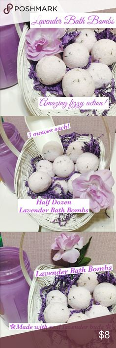 Half Dozen Lavender Bath Bombs 6 handmade lavender bath bombs. Made with real lavender buds. Each bath bomb is 3os each. These are round ball shaped bath bombs Maude comparable to a golf ball but a bit bigger. Perfect size for an adult bath. For a child's bath can break in half. Lavender is calming scent. Helps to relieve stress and insomnia. Drop in bath watch it fizz! Scent of lavender fills the air 6…