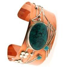 Margaret Macdonald Turquoise, Copper, Silver Bangle