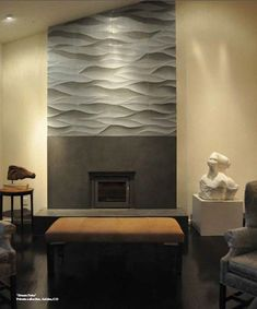 Ambra Gris (grey) wave-contoured tile - Artistic Tile - must have this! Grey Stone Fireplace, Fireplace Wall, Living Room With Fireplace, Fireplace Surrounds, Fireplace Design, Fireplace Ideas, Room Tiles, Wall Tiles, Basement Wall Colors
