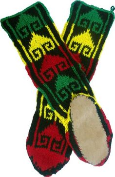 Leather Soled Wool-Rayon Slipper Socks in Rasta Colors Slipper Socks, Slippers, Cozy Winter Outfits, Winter Clothes, Rasta Colors, Fashion Brands, High Fashion, Dance Wear, Medium