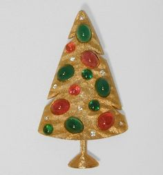 Marvella  Green Pink Glass Cabochon Modernist Christmas Tree Pin | eBay