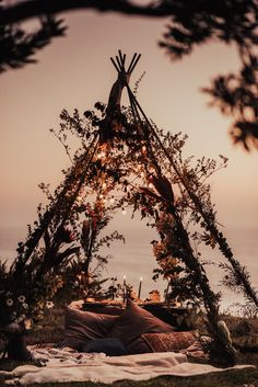 Boho teepee, Open teepee, floral teepee, floral backdrop design, intimate dinner, intimate event, boho tablescape, boho floral design, fruit and cheese platter, wedding with a view, dream elopement, big sur elopement
