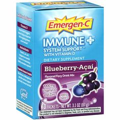 I'm learning all about Emergen-C Immune Plus System Support Blueberry-Acai Flavored Fizzy Drink Mix at @Influenster!