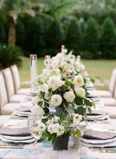 White flowers and greenery are always a win. Photography : Lucy Cuneo Photography Read More on SMP: http://www.stylemepretty.com/living/2016/08/16/all-roads-lead-to-charming-with-this-stunning-southern-garden-party/
