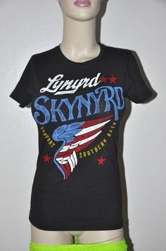 Trendy Black Lynyrd Skynyrd Rock Star T-shirt top M vintage Style Southern Rock #BayIsland #GraphicTee