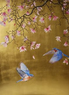 Magnolia with bluebirds - Ruth Winding Japanese Painting, Japanese Art, Chinese Painting Flowers, Fleurs Art Nouveau, Gold Leaf Art, Chinoiserie Wallpaper, Art Japonais, Painted Leaves, Painting Wallpaper