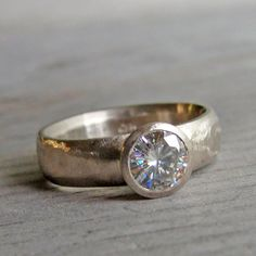 Moissanite Engagement Ring with Recycled 14k Palladium White Gold..... love this thick band