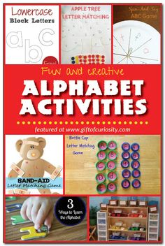 Fun and creative alphabet activities to help kids learn their letters, including hands-on activities, free printables, and lots of inspiring ideas! Gift of Curiosity Preschool Literacy, Preschool Letters, Literacy Activities, Teaching Resources, Learning The Alphabet, Fun Learning, Learning Spanish, Early Learning, Letter Matching Game