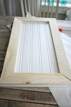 Budget Cabinet Makeover – Nest of Bliss Cabinet faces made by adding plywood edges & beadboard wallpaper.