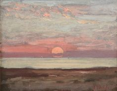 simena: Élodie La Villette (French, 1848-1917), Sunset, 1912. Oil on panel, 7 1/2 x 9 1/2 in.