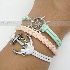 Anchor Bracelet, Sailing Helm Bracelet, Charm Bracelet, Charm Gift for Relatives & Friends, Festival Present