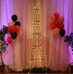Paris Theme Centerpieces | Paris Themed Dance- This area is used for photos of the girls and ...