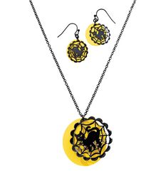 """Neon Halloween Necklace & Earring Gift Set  Neon metal disc with black overlay. Necklace, 16 1/2"""" L with 3 1/2"""" extender. Pierced earrings, 1 1/4"""" L."""