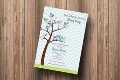 Owl Baby Shower Invitation Owl Tree Boy Chevron Hipster Invitation - DIY Personalized Printable Invitation