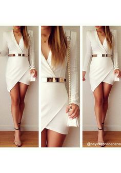 White Wrap Body Con Asymmetrical Long Sleeve Mini Dress