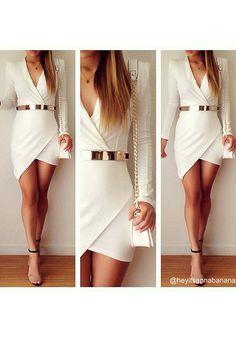 White Wrap Body Con Asymmetrical Long Sleeve Mini Dress