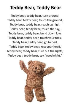 Teddy bear song - Baby Wear Teddy bear song The Effective Pictures We Offer You About Baby Tips for new moms A quality picture can tell you many things. You can find the most beautiful Kindergarten Songs, Preschool Music, Preschool Learning, Teaching, Bears Preschool, Preschool Circle Time Songs, Preschool Fingerplays, Nursery Rhymes Lyrics, Nursery Songs