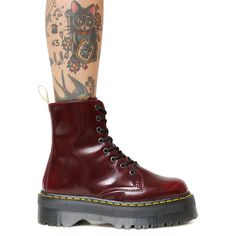 Dr. Martens Cherry Vegan Jadon II Boot (10.185 RUB) ❤ liked on Polyvore featuring shoes, boots, dr martens boots, fake leather boots, dr. martens, faux-leather boots and platform shoes