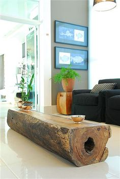 liking the log coffee table.
