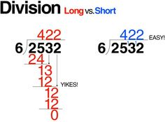 E is for Explore!  Long Division vs. Short, with tutorial and examples