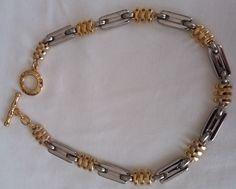 Vintage, anni '70, Pierre Cardin necklace, collana bicolore, oro e argento