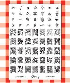 "Amazon.com: Cheeky New 2013 Collection of Jumbo Nailart Polish Stamp Stamping Manicure Image Plates Accessories Set Kit. Nail Art Jumbo Image Plate 1- ""Viva Mexico"": Beauty"