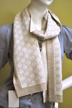 Gucci GG Guccissima Mens Womens Beige White Wool Knit Scarf Mufler #Gucci #Scarf #Everyday