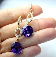 Purple Hatter Society Chandelier Earrings Rhinestone Austrian Crystal Bridal  #Unbranded #Chandelier