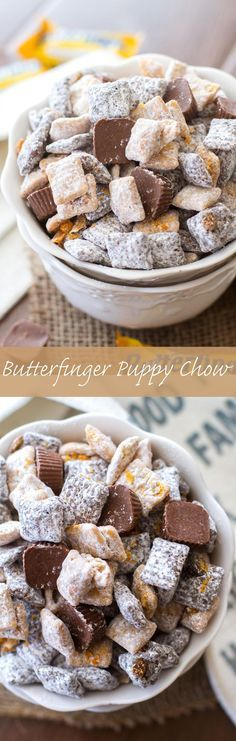 This easy puppy chow recipe is full of chocolate, peanut butter, and both Butterfinger Fun-Sized Candy Bars and Butterfinger Peanut Butter Cup Minis. (I hate calling this kind of snack puppy chow. Dessert Dips, Dessert Parfait, Dessert Aux Fruits, Oreo Dessert, Easy Puppy Chow Recipe, Puppy Chow Recipes, Chex Mix Recipes, Snack Recipes, Dessert Recipes