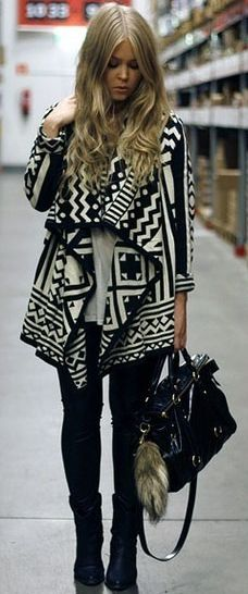 love the Aztec sweater! I want a black and white, or grey and white. XL plz!