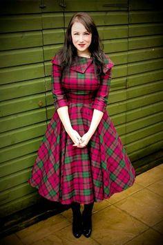 Polka Dot Polly 'Penny' dress in the most beautiful tartan colour combination! Tartan Dress, Wool Dress, Stylish Dress Designs, Stylish Dresses, Indian Fashion Dresses, Fashion Outfits, Mode Tartan, Simple Elegant Dresses, Tartan Fashion
