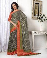 Black & Orange Color Crepe Casual Party Sarees : Aashni Collection  YF-41640