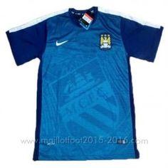 Pre Match maillot de foot bleu Manchester City 2015-2016