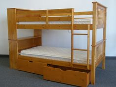 Bunk Beds Twin over Twin Bookcase Honey with Drawers $486