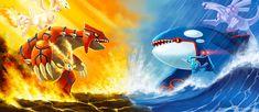 Fire vs Water types! Groudon, Reshiram, Victini vs Kyogre, Palkia, Manaphy! Pokemon art