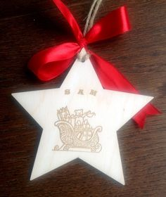 Rustic wooden personalised Christmas decoration Custom star with Santa's Sleigh £3.75