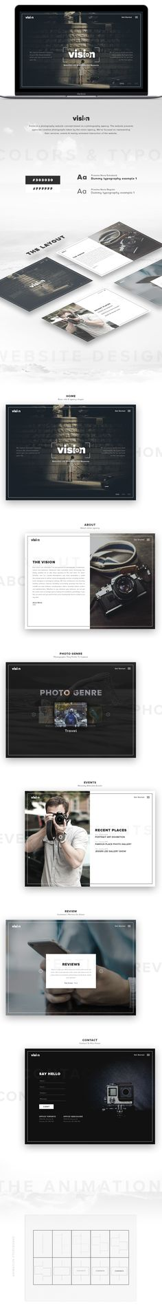 Vision is a photography website concept based on a photography agency. The website presents agencies creative photographs taken by the vision agency, We've focused on representing their services, events & mainly animated interaction of the website.