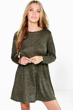 5d85c78630c1 #boohoo Knitted Swing Dress - khaki DZZ85767 #Pared back day dresses are  the perfect