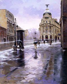 Metropoli in the Street of Alcala - Madrid, Spain by Ricardo Sanz Spanish Painters, Spanish Artists, John Johnson, Dream Art, City Streets, Portrait Art, Landscape Art, Landscape Paintings, Landscapes