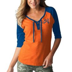 New York Mets Touch by Alyssa Milano Women's Perfect Game 3/4-Sleeve T-Shirt - Orange/Royal