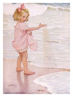 jessie willcox smith young girl in the ocean surf, Jessie Willcox-Smith Paintings, Art, Painting, Pictures Sarah Kay, Children's Book Illustration, Beach Art, Vintage Children, Belle Photo, Vintage Prints, Jessie, Illustrations Posters, Vintage Illustrations