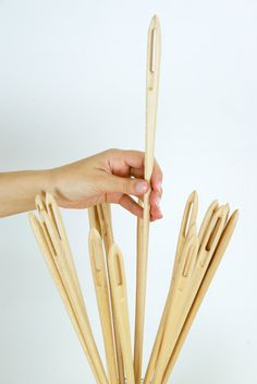 Giant wood needle and pins / wooden needle / by MonoculoShop