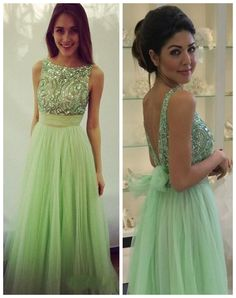 Boat Neck Backless Beading Sleeveless Long Prom Dress-Mint Tulle Dress TUPD-31010